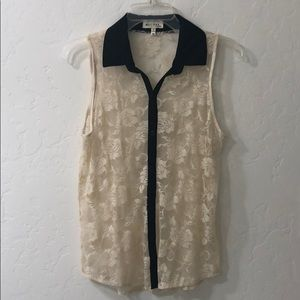 Tops - Cream and Black lace top